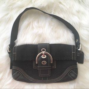 COACH Soho front belt buckle Black flap Purse
